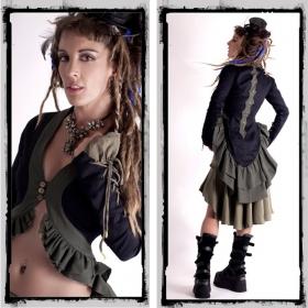 "Veste fairy floss \""steampunk\"", noir/kaki"