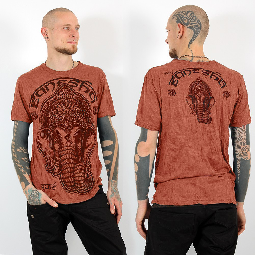 "T-shirt ""ganesh face"", Orange"