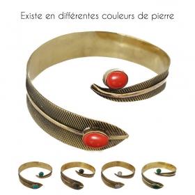 """Bracelet de bras en laiton or """"Plume Dahlia"""", Pierre rouge"""
