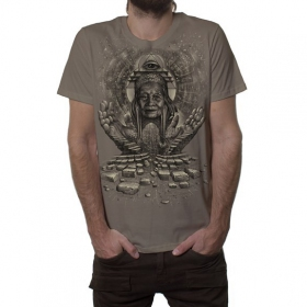"T-shirt ""Jinpa"", Marron clair"