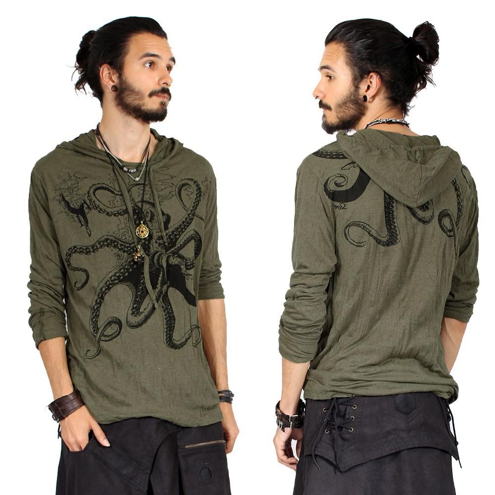 """T-shirt capuche """"Octopus"""", Kaki"""