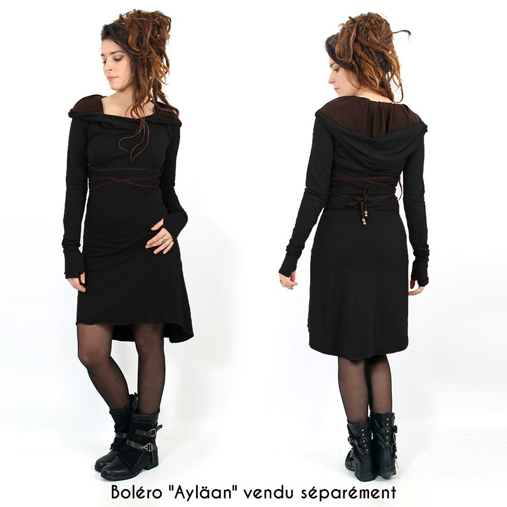 "Robe courte ""Liskä"", Noir"