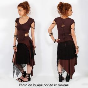"""2en1 Jupe/Tunique """"Syrada"""", Marron avec dentelle"""
