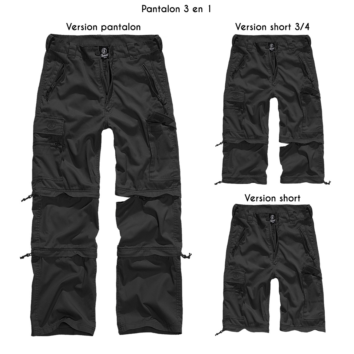 "Pantalon treillis 3in1 ""Cargo Savannah"", Noir"