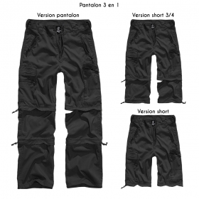 """Pantalon treillis 3in1 """"Cargo Savannah"""", Noir"""