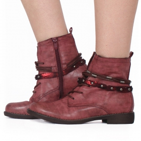 "Bottines ""Unyen"", Framboise"
