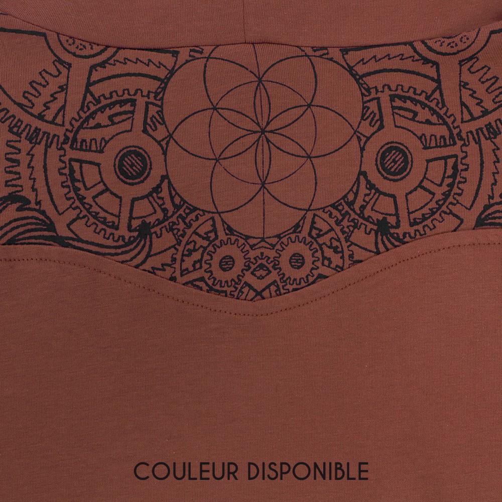 """T-shirt manches longues """"Floral Mach"""", Brique"""