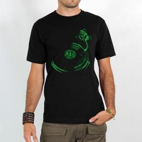 """T-shirt """"Play record"""", Noir et Vert"""