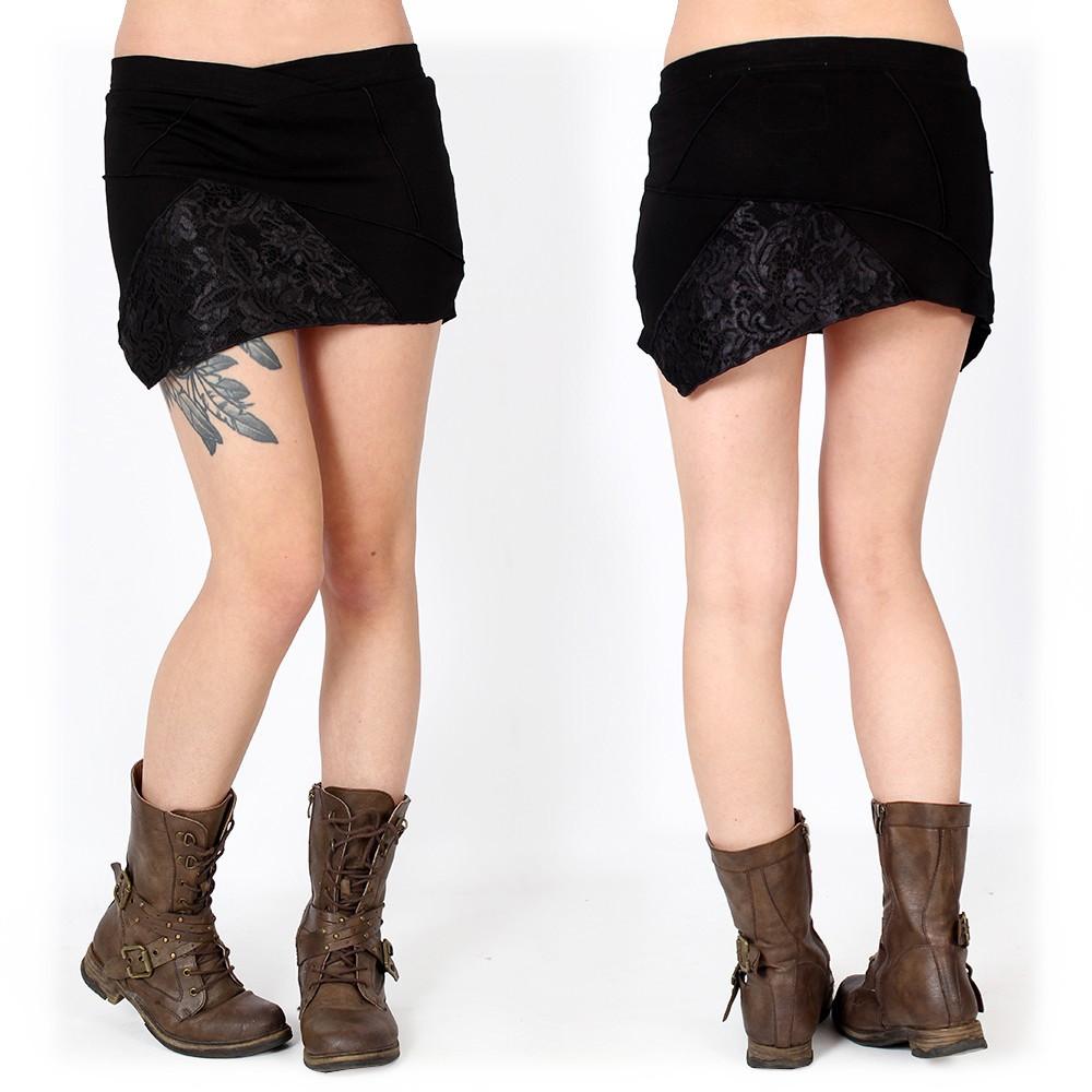 """Mini jupe """"Patchwork"""", Noir"""