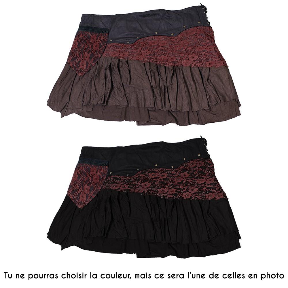 """Jupe """"Chimey"""", Noir et Marron uni"""