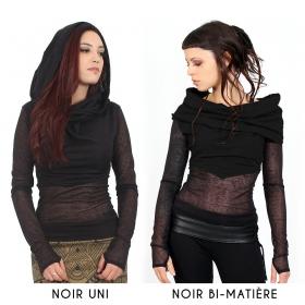 "Top ""Azmiyäa"", Noir bi-matière"