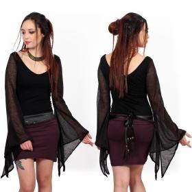top moulant witchy goth noir moonspell yggdrazil manches longues amples évasées transparentes, dark clothing, vêtements dark
