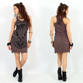 "Robe ""Tribal tattoo face"", Taupe"
