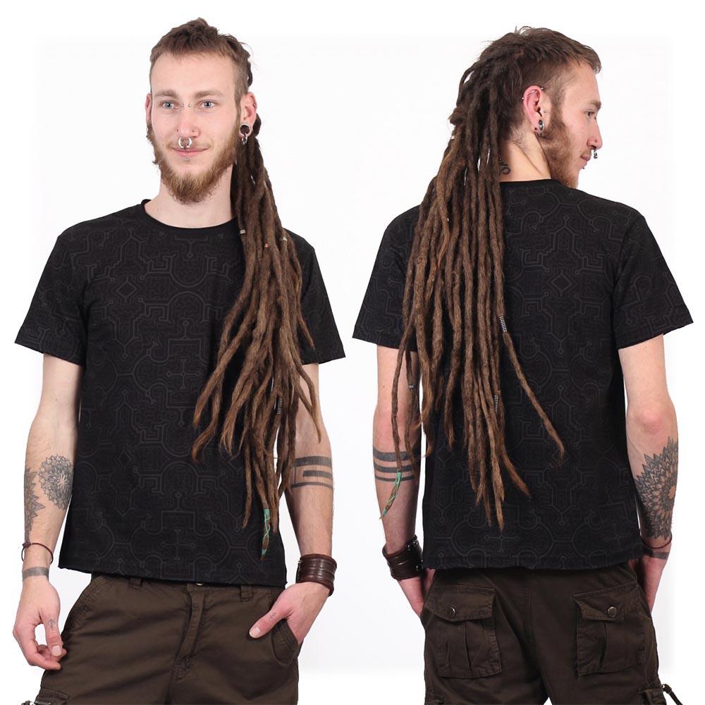 "T-shirt manches courtes ""Amun Shipibo"", Noir"