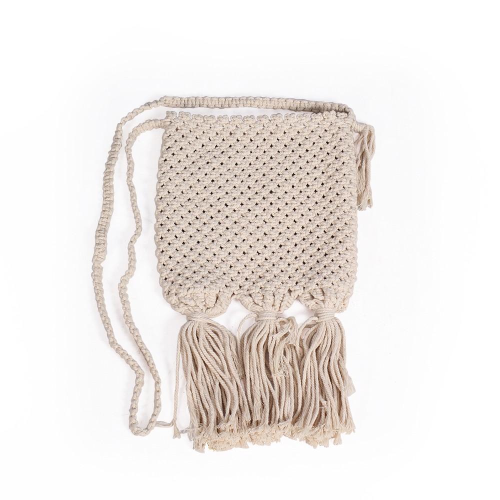 "Petit sac bandoulière ""Ikaika"", Coton tressé blanc cassé"