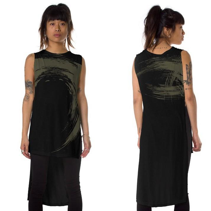 "T-shirt asymétrique ""Akasha"", Noir"