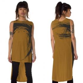 """T-shirt asymétrique """"Akasha"""", Jaune moutarde"""