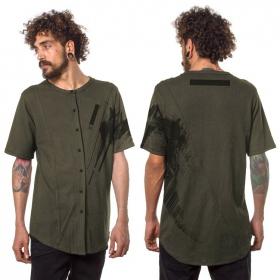 """T-shirt à boutons """"Uneven"""", Vert kaki"""