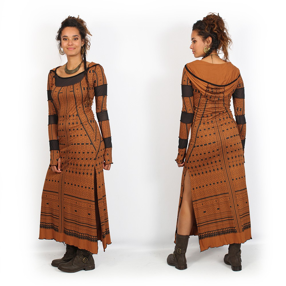 "Robe longue ""Inanna Kalinga"", Terre de sienne"
