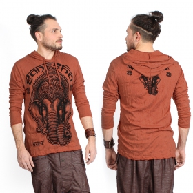 "T-shirt capuche ""Ganesh Face"", Orange"