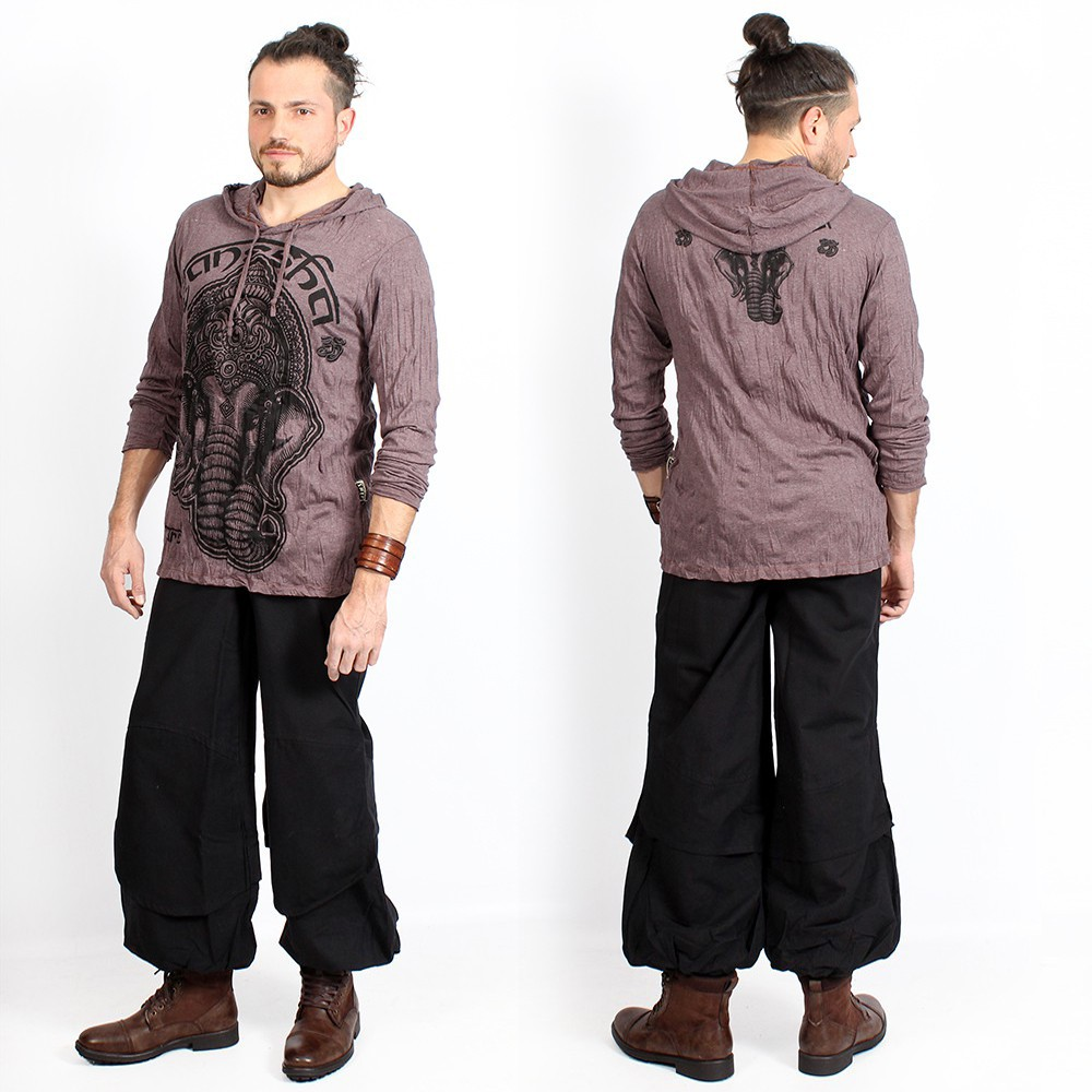 "T-shirt capuche ""Ganesh Face"", Taupe"
