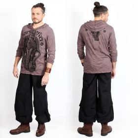 "T-shirt capuche ""Ganesh Face"", Marron"