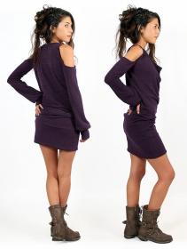 "Robe pull épaules dénudées ""Elixir"", Violet"