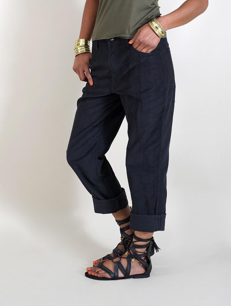 "Pantalon en velours côtelé ""Ottarah"", Noir"