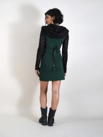 """Robe manches longues crochet """"Atmäa"""", Vert canard et noir"""