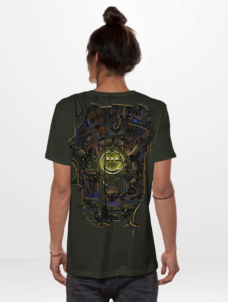 "T-shirt ""Tea Break"", Vert kaki foncé"