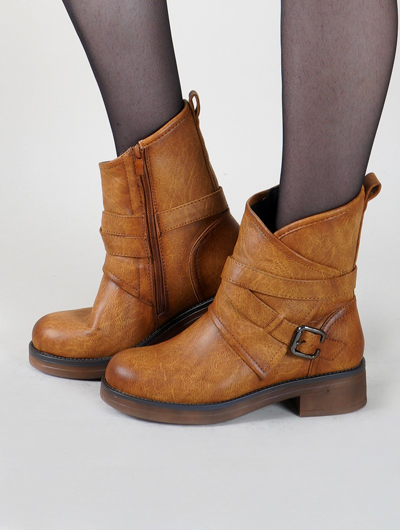 "Bottines ""Hafsana"", Marron camel"