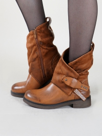 "Bottines ""Saryu"", Marron camel"