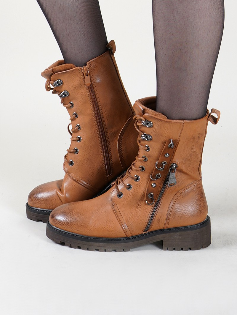 "Bottines ""Vijay"", Marron camel"