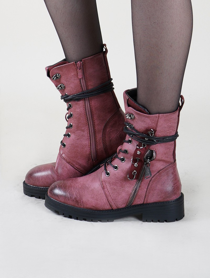 "Bottines ""Vijay"", Bordeaux clair"