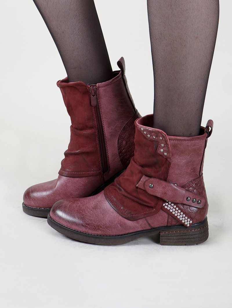 "Bottines ""Rajani"", Bordeaux clair"