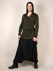 "T-shirt manches longues à capuche ""Samouraï"", Vert kaki"