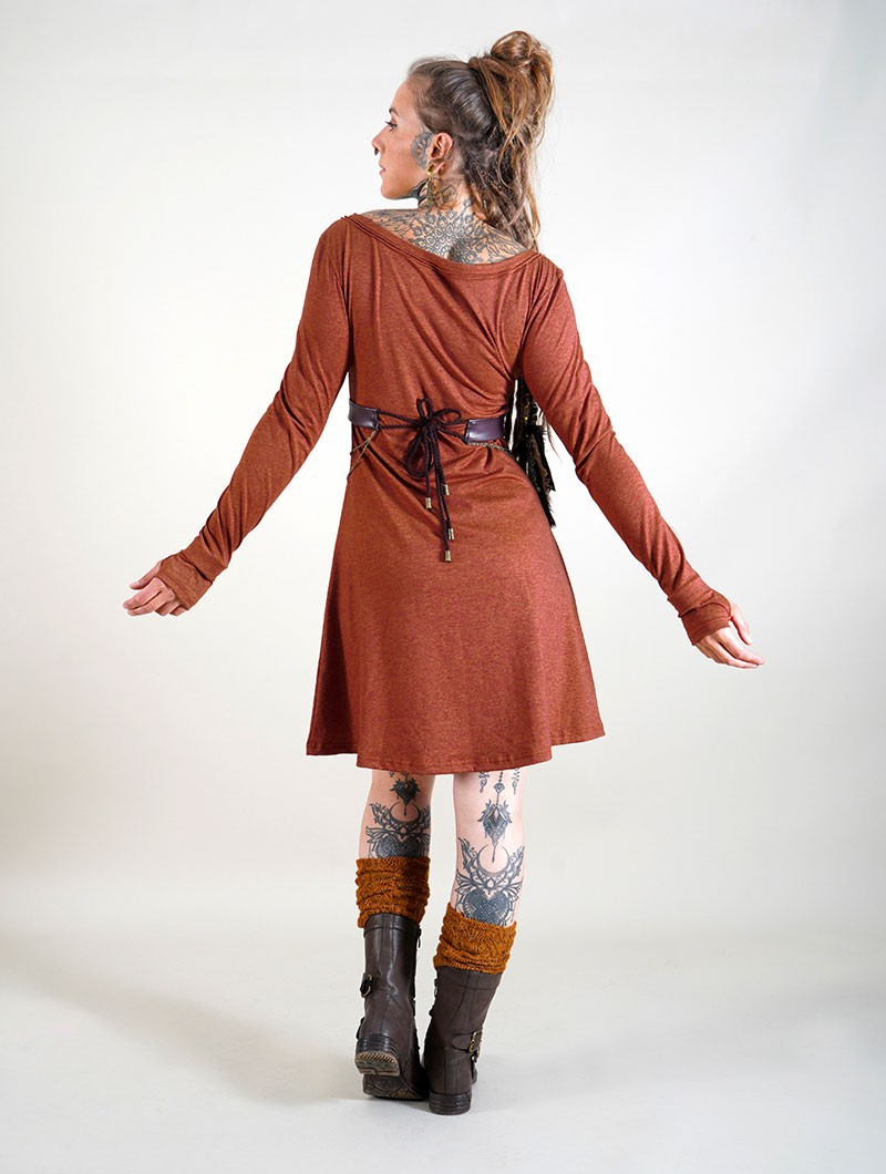 "Robe à manches longues ""Ysïaa"", Terre de Sienne chiné"
