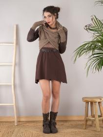 """Châle en maille et faux cuir """"Aeriz"""", Beige et marron"""