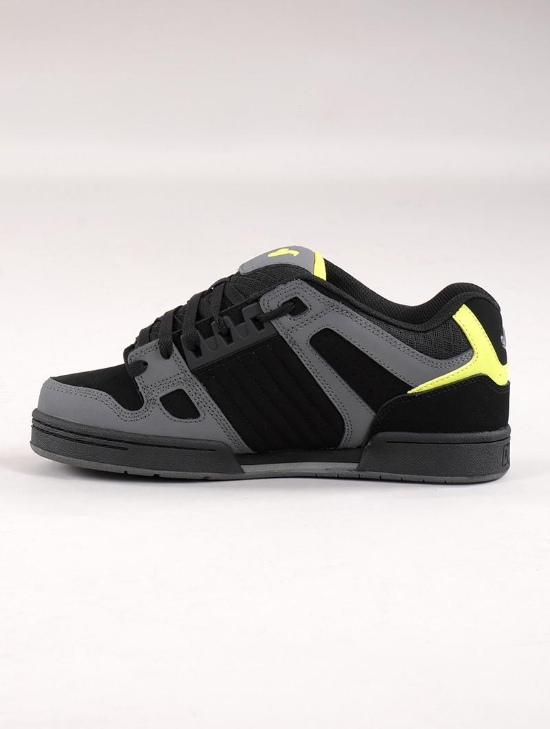 Baskets de skate DVS Celsius, Cuir noir et gris avec détails lime