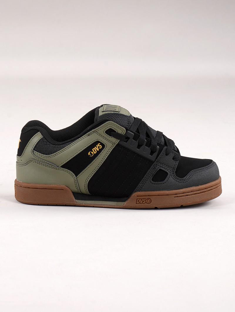 Baskets de skate DVS Celsius, Cuir noir et vert kaki