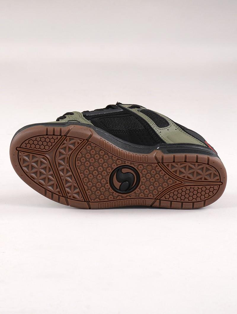 Baskets de skate DVS Comanche, Cuir noir et vert kaki avec détails orange