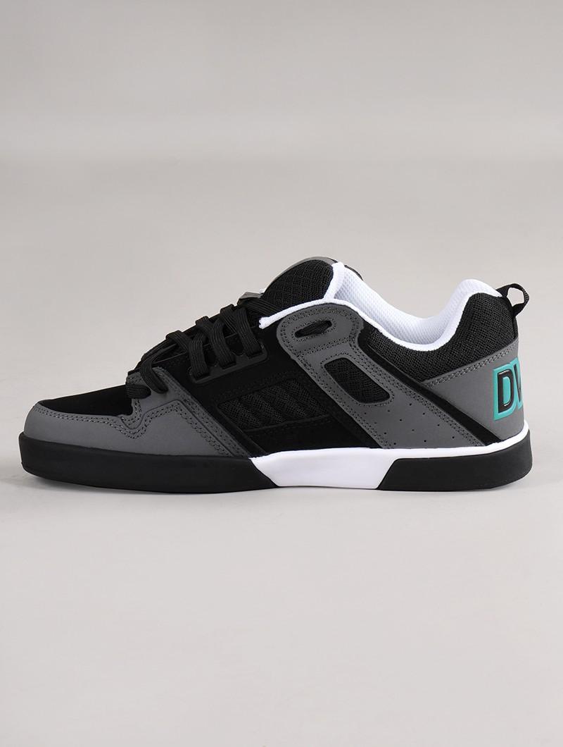 Baskets de skate DVS Comanche 2.0+, Cuir noir et gris avec détails turquoises