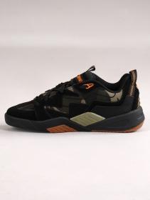 Baskets de skate DVS Devious, Cuir noir et détails camo