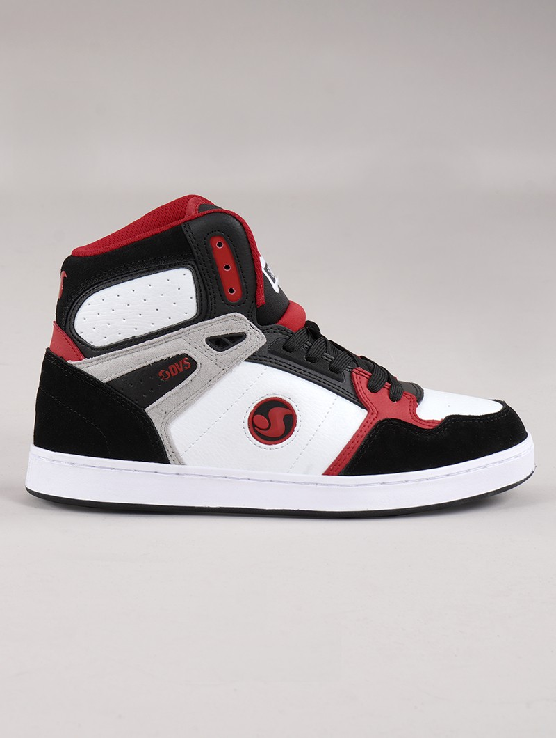 Baskets de skate DVS Honcho, Cuir noir, blanc et rouge