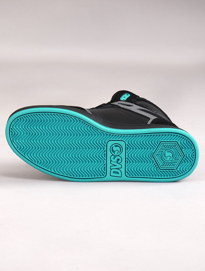 Baskets de skate DVS Honcho, Cuir noir, gris et suède turquoise