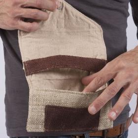 """Blague à tabac \""""Kaski\"""", chanvre et coton sable"""