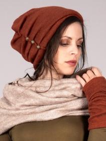 "Bonnet à perle \""Aslany\"", Terre de sienne"