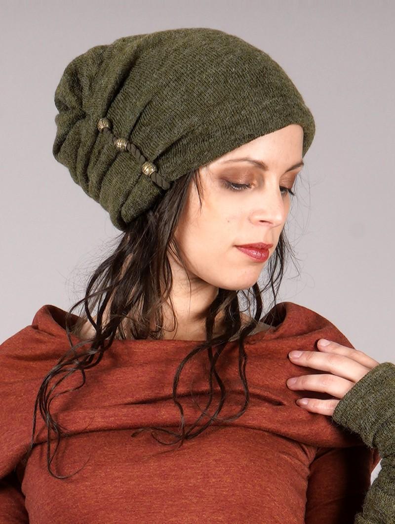 "Bonnet à perle \""Aslany\"", Vert kaki"