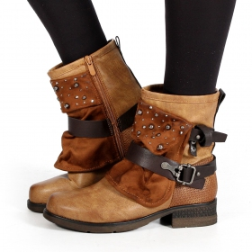 "Bottines ""Alyiah\"", Marron camel"