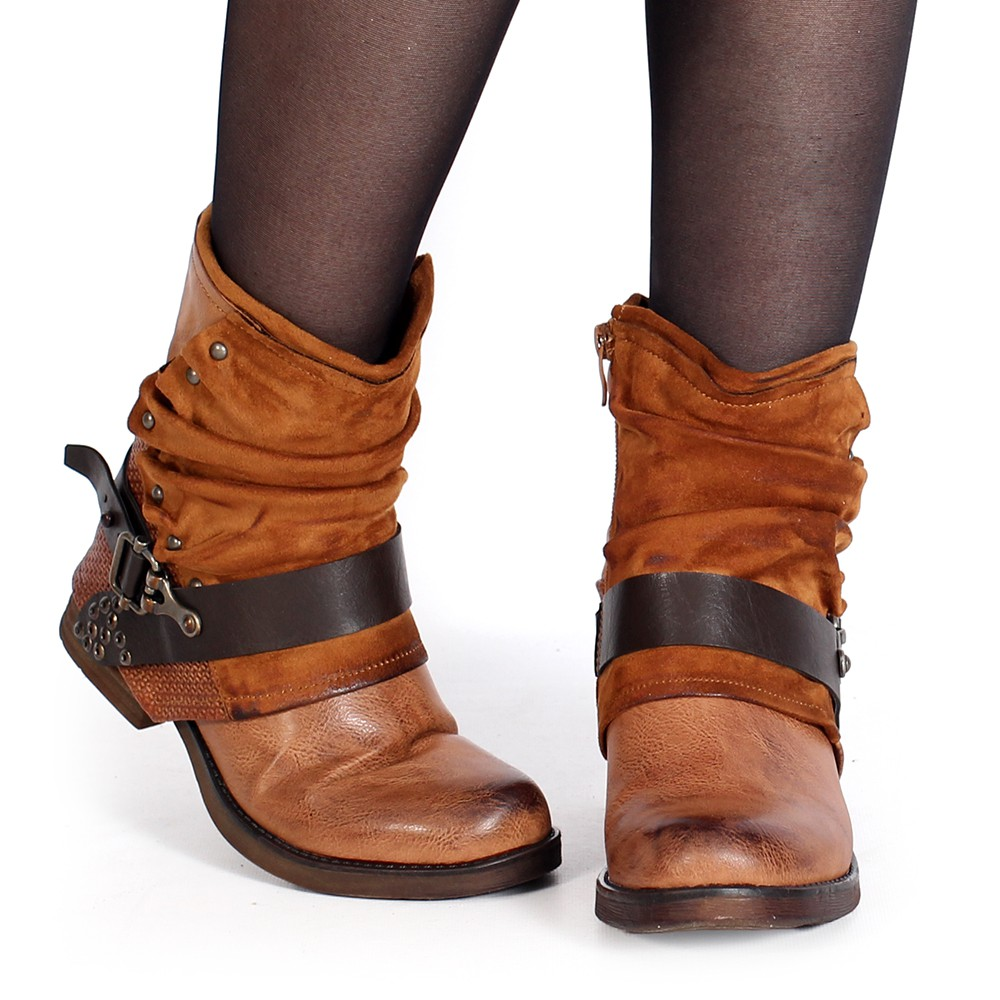 "Bottines ""Arwenn\"", Marron camel"